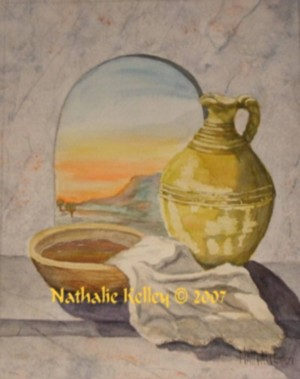 Basin and Towel Nathalie Kelley Watercolor