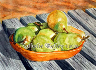 Picnic Pears Nathalie Kelley Watercolor