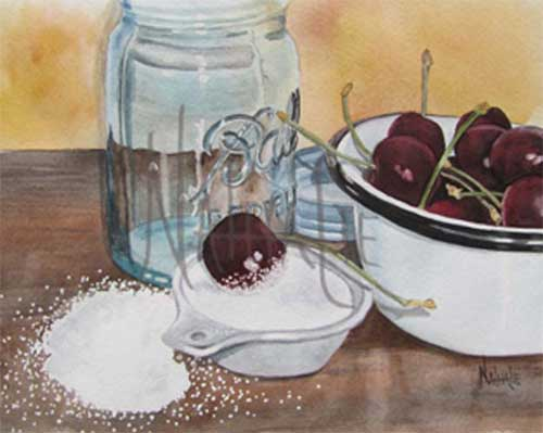Cherries and Sugar Nathalie Kelley Watercolor