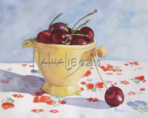 Cherries and Yellow Fiesta Nathalie Kelley Watercolor