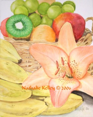Fruit and Lily Nathalie Kelley Watercolor