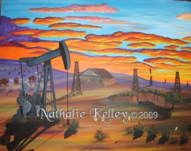 West Texas Oil Nathalie Kelley Watercolor