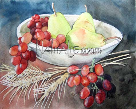 Pears and Red Grapes Nathalie Kelley Watercolor