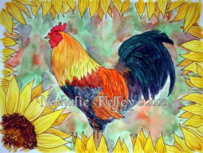 Rooster and Sunflowers Nathalie Kelley Watercolor