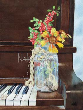 Old Piano and Mason Jar Nathalie Kelley Watercolor