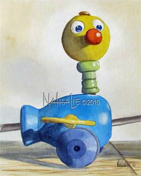 Vintage Toy Duck Blue Nathalie Kelley Watercolor