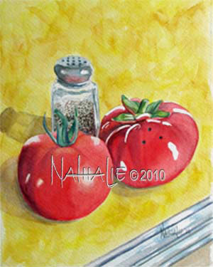 Tomato - Salt Shaker in Disguise Nathalie Kelley Watercolor