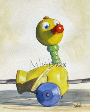 Vintage Toy Duck Yellow Nathalie Kelley Watercolor